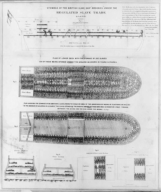 Slave Ship Brookes demonstrating how slaves (nhumane) were packed (inhumane) into a ship for profit (inhumane).