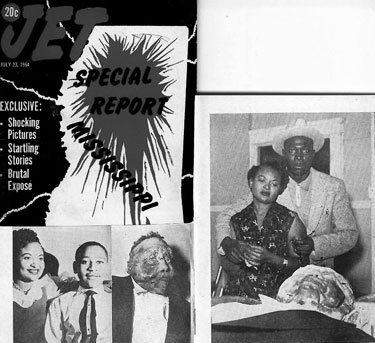 """Emmett Till's funeral. mainstream media always describes Emmett's offense as """"whistling at a white woman"""", yet his speech impediment prevented him from whistling."""